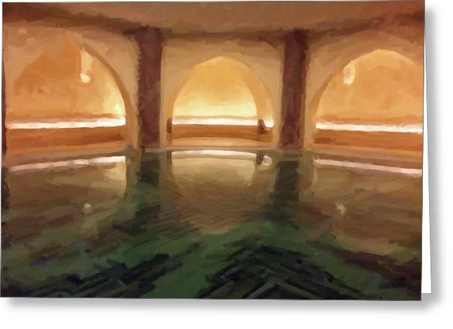 Hassan II Mosque Bath Pool Morocco Greeting Card