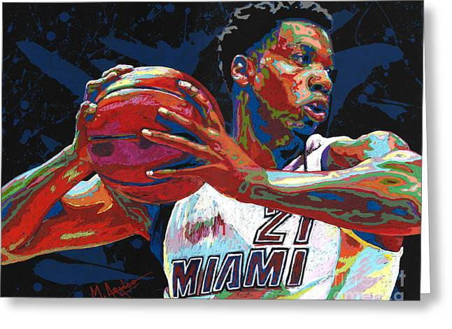Hassan Whiteside Greeting Card by Maria Arango
