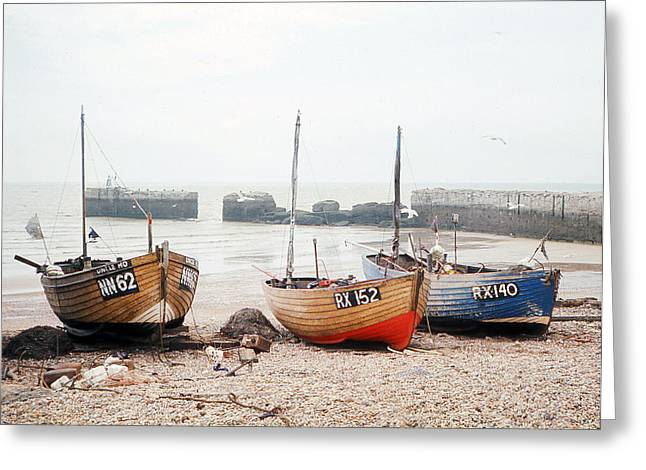 Hastings England Beached Fishing Boats Greeting Card by Richard Singleton