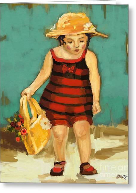Hat And Bag Greeting Card by Carrie Joy Byrnes