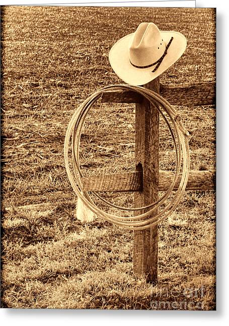 Hat And Lariat On A Post Greeting Card