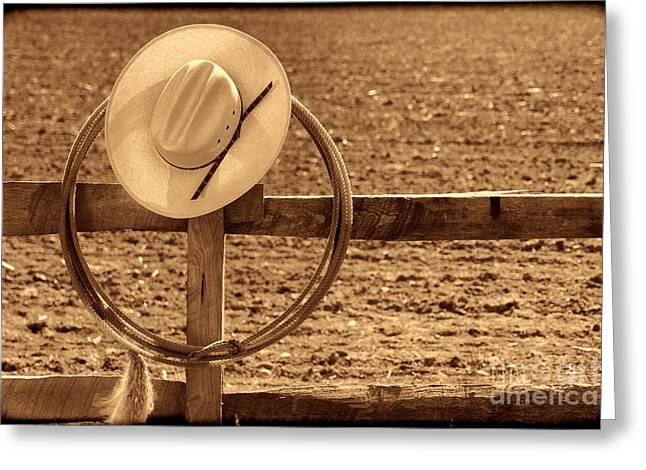 Hat And Lasso On A Fence Greeting Card