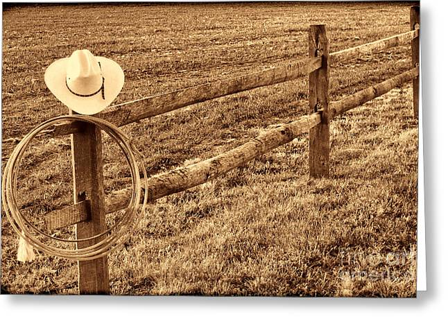 Hat And Lasso On Fence Greeting Card