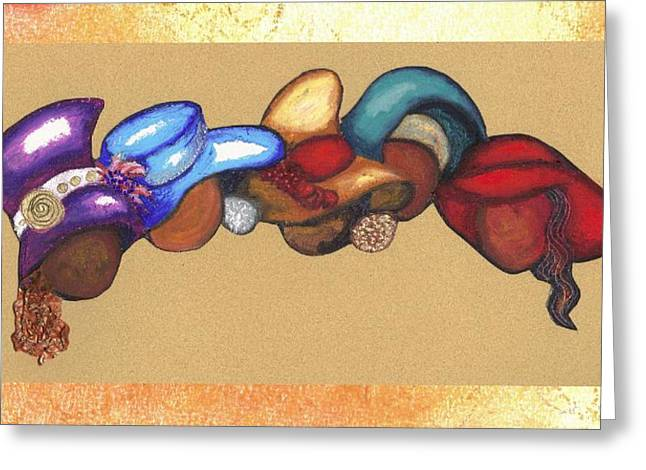 Greeting Card featuring the mixed media Hat Ladies by Alga Washington