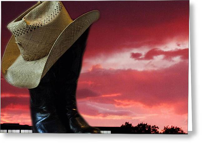 Hat N Boots 11 Greeting Card by Chuck Shafer