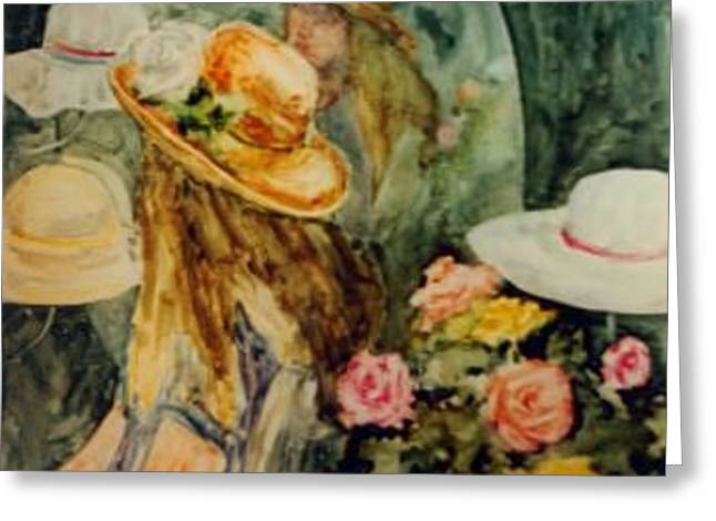 Hat Series Reflection Greeting Card by Helen Hickey