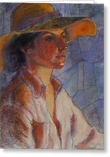 Hat Series Summer Glow Greeting Card by Helen Hickey