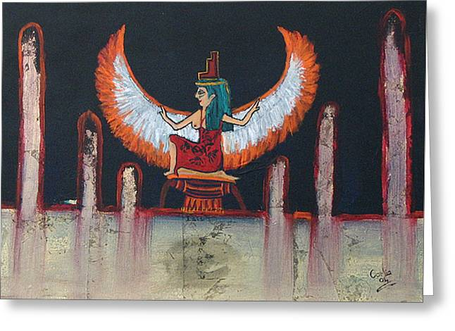 Hathor Greeting Card by Corlia Chameleon