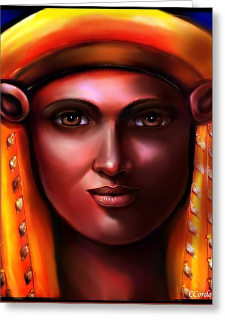 Hathor -egyptian Goddess Greeting Card by Carmen Cordova