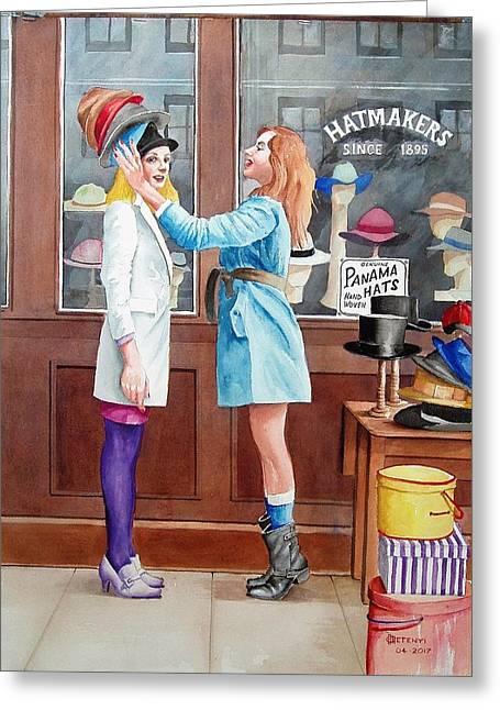Hatmakers Greeting Card by Charles Hetenyi