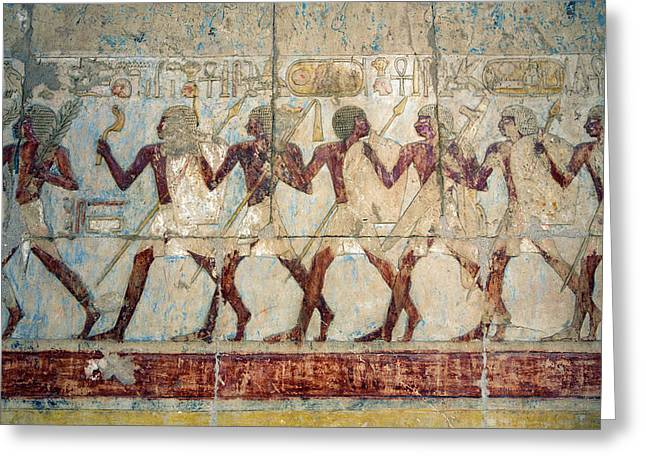 Hatshepsut Temple Parade Of Soldiers Greeting Card by Aivar Mikko