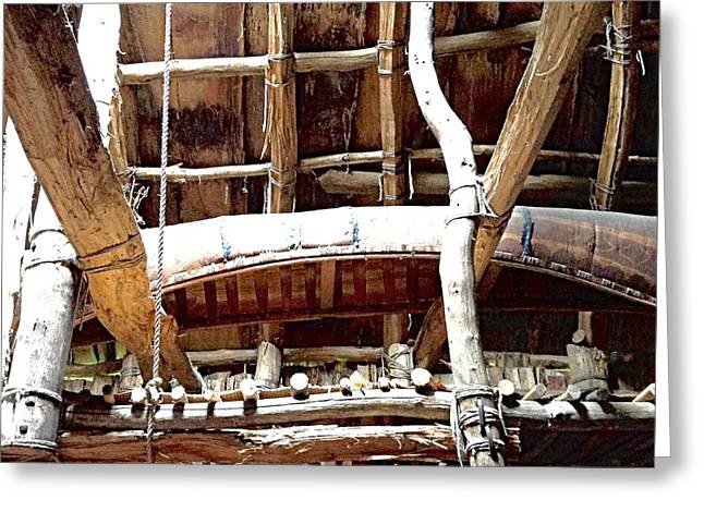 Haudenosaunee Longhouse  Greeting Card by Ellen Levinson