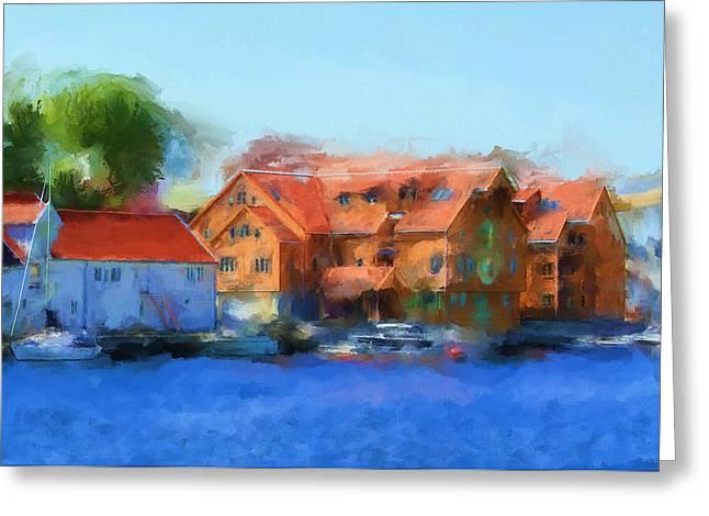 Haugesund Harbour Greeting Card by Michael Greenaway