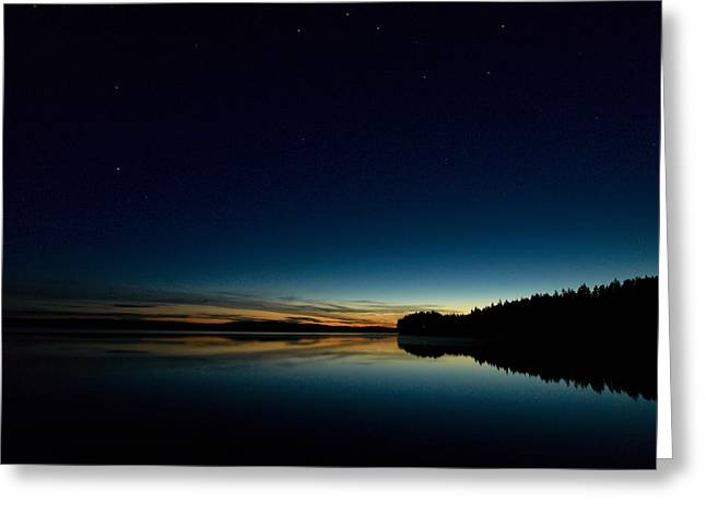 Greeting Card featuring the photograph Haukkajarvi By Night With Ursa Major 1 by Jouko Lehto