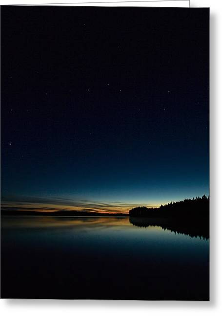 Greeting Card featuring the photograph Haukkajarvi By Night With Ursa Major 2 by Jouko Lehto
