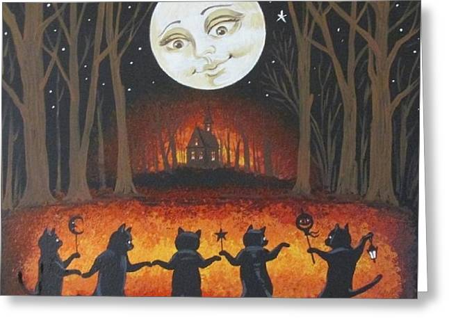 Haunted Dance Greeting Card by Margaryta Yermolayeva