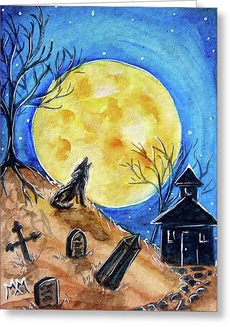 Haunted Evening Greeting Card by Monique Morin Matson