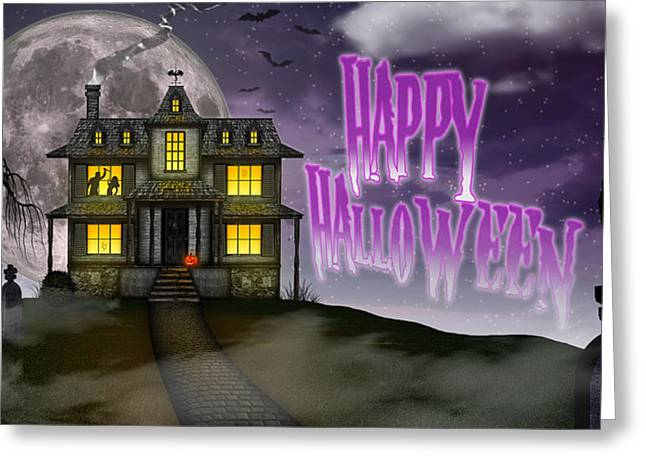 Haunted Halloween Greeting Card by Anthony Citro