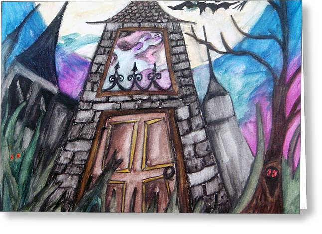"""haunted House"" Mixed Media Greeting Cards - Haunted House Greeting Card by Jenni Walford"