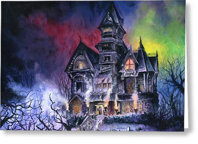 Gothic Horror Greeting Cards - Haunted House Greeting Card by Ken Meyer jr