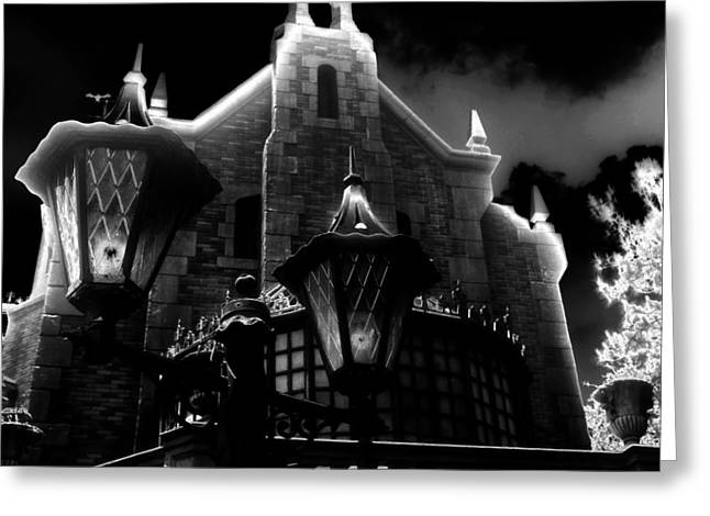 Haunted Mansion Night Greeting Card by David Lee Thompson