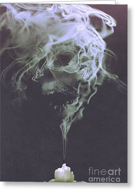 Greeting Card featuring the painting Haunted Smoke  by Tithi Luadthong