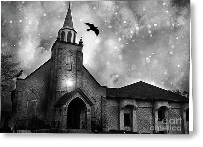 Haunting Spooky Gothic Black And White Church With Ravens Crows Greeting Card