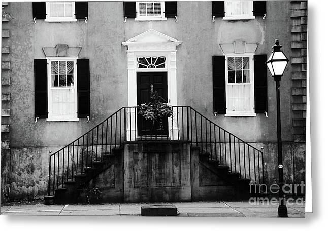 Haunting Surreal Black And White Charleston South Carolina French Quarter Architecture Windows Door Greeting Card