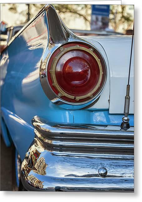Greeting Card featuring the photograph Havana Cuba Vintage Car Tail Light by Joan Carroll
