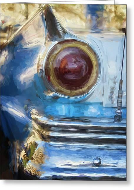 Greeting Card featuring the photograph Havana Cuba Vintage Car Tail Light Painterly by Joan Carroll
