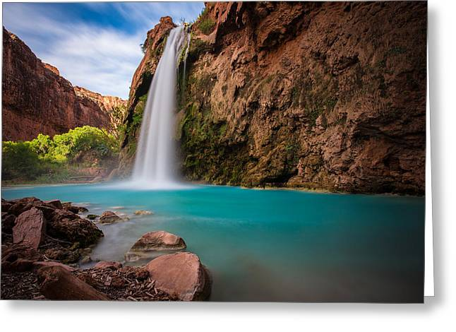 Greeting Card featuring the photograph Havasu Falls by Adam Mateo Fierro
