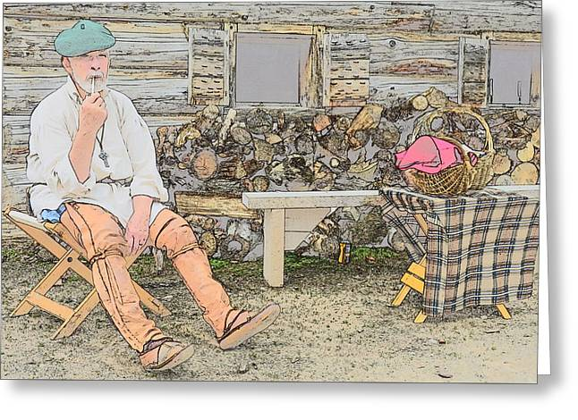Having A Pipe Greeting Card by Robert Nelson