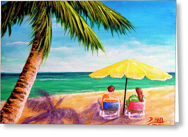 Hawaii Beach Yellow Umbrella #470 Greeting Card by Donald k Hall
