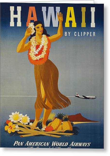 Hawaii By Clipper Greeting Card by Georgia Fowler
