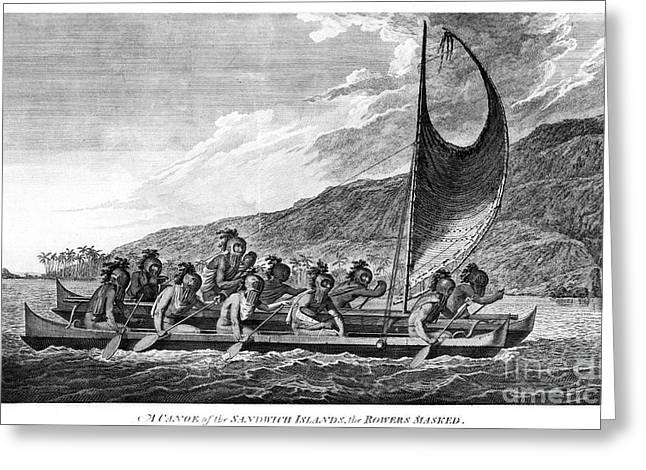 Hawaii: Canoe, 1779 Greeting Card by Granger
