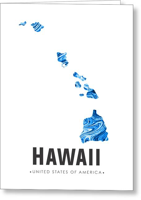 Hawaii Map Art Abstract In Blue Greeting Card