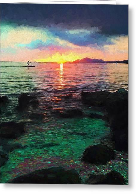 Hawaii Paddler Greeting Card by Vicki France