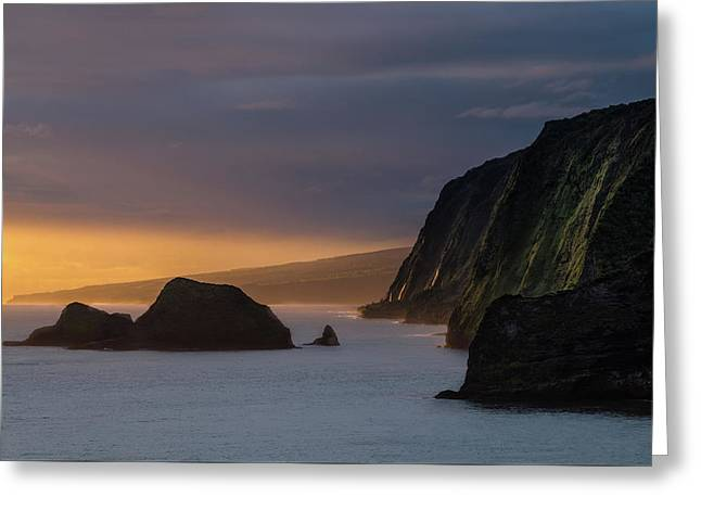 Hawaii Sunrise At The Pololu Valley Lookout Greeting Card by Larry Marshall