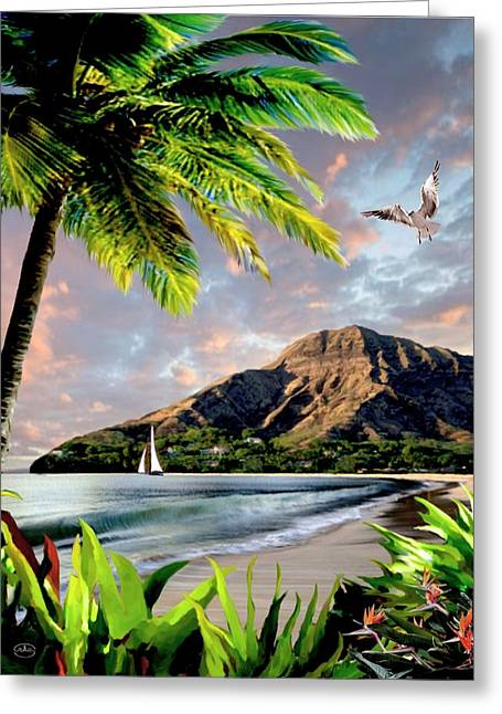 Hawaii Sunset Greeting Card by Ron Chambers