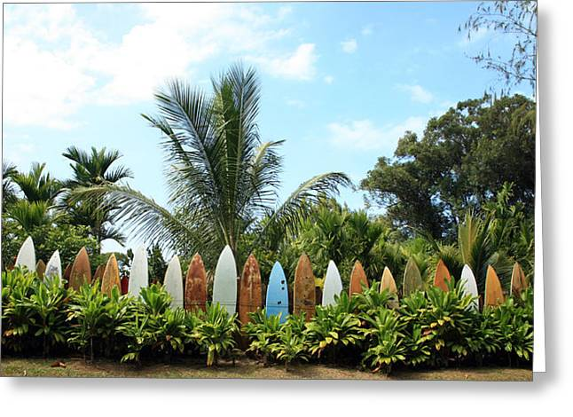Hawaii Surfboard Fence Greeting Card by Michael Ledray