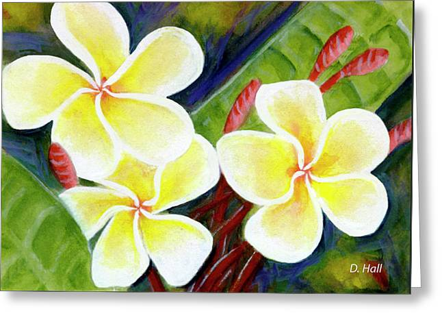 Hawaii Tropical Plumeria Flower #298, Greeting Card by Donald k Hall
