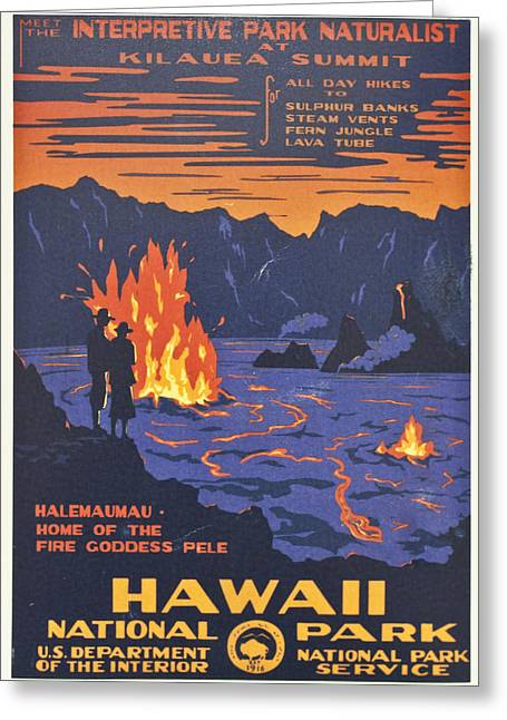 Hawaii Vintage Travel Poster Greeting Card by Georgia Fowler