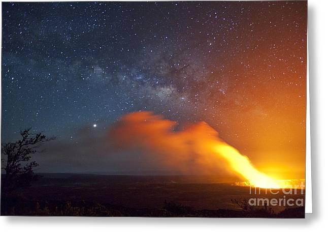 Hawaii Volcano And Milky Way Greeting Card