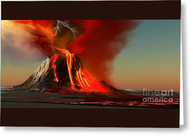 Hawaii Volcano Greeting Card by Corey Ford