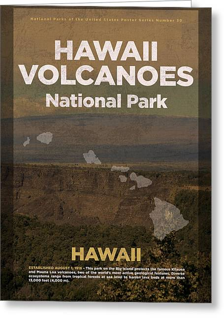 Hawaii Volcanoes National Park In Hawaii Travel Poster Series Of National Parks Number 30 Greeting Card