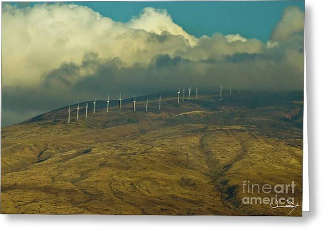 Hawaii Windmills On Maui One Greeting Card by Vance Fox