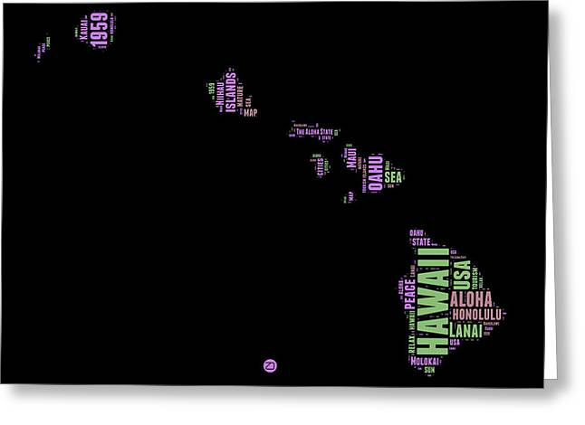 Hawaii Word Cloud 1 Greeting Card by Naxart Studio