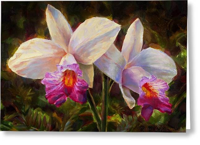 Hawaiian Bamboo Orchid Greeting Card by Karen Whitworth
