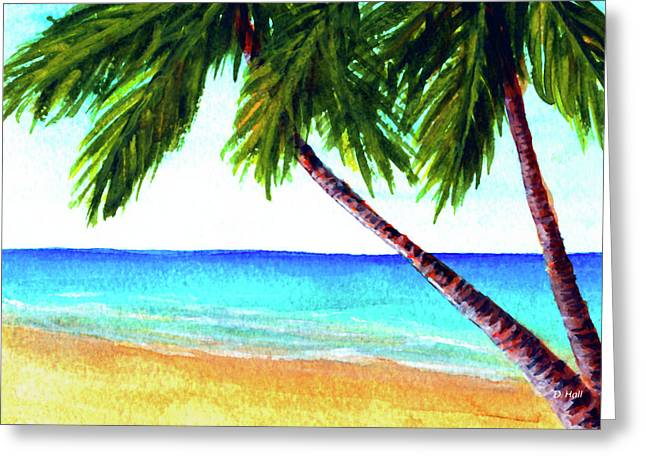 Hawaiian Beach Palm Trees  #425 Greeting Card by Donald k Hall