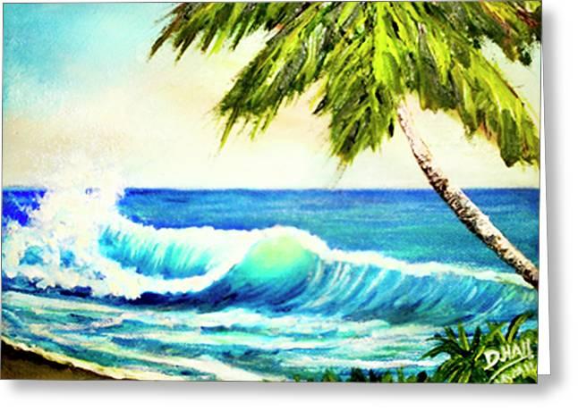 Hawaiian Beach Wave #420 Greeting Card by Donald k Hall